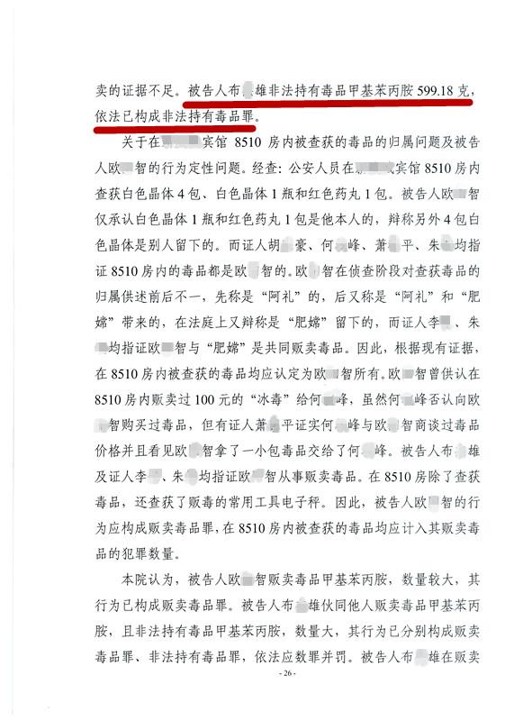 布某贩卖冰毒599克成功辩护为非法持有毒品4