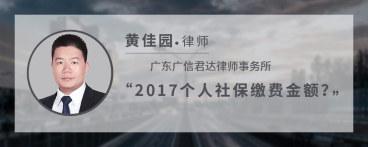 2017个人社保缴费金额
