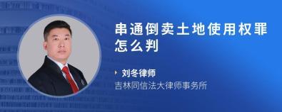 串通倒卖土地使用权罪怎么判-刘冬律师